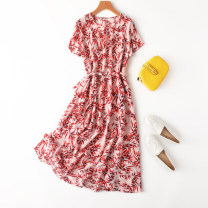 Dress Spring 2021 red maple leaf Flat chest 106CM Mid length dress singleton  Short sleeve commute Crew neck middle-waisted Decor Socket A-line skirt routine Type A Manis lady L--6---23 More than 95% Crepe de Chine silk