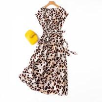 Dress longuette Short sleeve Straight collar High waist Leopard Print Condom routine Type A Manis literature Crepe de Chine Summer 2021 singleton  commute silk More than 95% One size fits all