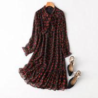 Dress Spring 2021 Sweet flowers L,XL Mid length dress singleton  Long sleeves Sweet Loose waist Socket Ruffle Skirt routine Type A Manis --250 More than 95% silk