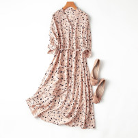 Dress Spring 2021 L,XL Mid length dress singleton  three quarter sleeve commute V-neck Loose waist Decor Single breasted A-line skirt routine Type A Manis literature printing More than 95% Crepe de Chine silk