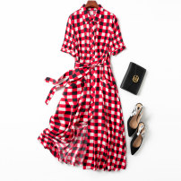 Dress Spring 2021 Red and white check L,XL,2XL,3XL,4XL longuette singleton  Short sleeve commute Polo collar middle-waisted lattice Single breasted Big swing routine Type A Manis literature More than 95% silk