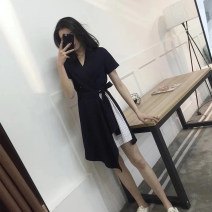 Women's large Summer of 2019 Grey, Navy Large L, large XL, s, M Fake two pieces commute Short sleeve Solid color Korean version V-neck routine Sandro Moscoloni Medium length