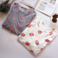 Pajamas / housewear set female Other / other cotton Long sleeves pajamas routine Crew neck trousers Socket youth 2 pieces rubber string More than 95% pure cotton printing Middle-skirt