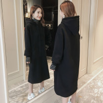 Sweater / sweater Winter of 2019 Long sleeves have more cash than can be accounted for Socket Fake two pieces Plush Hood easy commute routine Solid color 25-29 years old 96% and above Korean version cotton cotton Intradermal bile duct