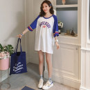 T-shirt White, yellow M,L,XL Summer of 2019 Short sleeve Crew neck easy Medium length raglan sleeve commute cotton 96% and above 18-24 years old Korean version youth Letters, numbers, color matching, stitching L122 printing