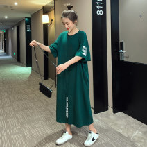 T-shirt blackish green M,L,XL Summer 2020 Short sleeve Crew neck easy Medium length routine commute cotton 86% (inclusive) -95% (inclusive) 25-29 years old Korean version youth Letters, numbers, solid colors, stitching T2020 Asymmetric, printed, pocket, stitching, split