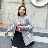 Women's large Spring 2021 Black, gray 1XL,2XL,3XL Knitwear / cardigan singleton  commute easy moderate Cardigan Long sleeves Korean version Crew neck routine Polyester, nylon, others Three dimensional cutting routine SZD8015 25-29 years old Button 31% (inclusive) - 50% (inclusive)
