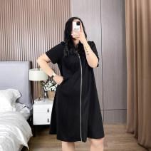 Women's large Spring 2021 black 1XL,2XL,3XL,4XL,5XL Dress singleton  commute moderate Short sleeve Solid color Cotton, nylon QZB3786 25-29 years old 51% (inclusive) - 70% (inclusive)