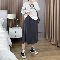 Women's large Spring 2021 Grey elastic waist, black elastic waist skirt singleton  commute easy moderate Socket Korean version routine polyester 25-29 years old 81% (inclusive) - 90% (inclusive)