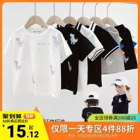 suit Righteuro Black, u12819 black, u12819 flower gray, Ben White, black pre-sale, u12820 black, u12820 Ben White, Ben White pre-sale, specification 1, specification 2 90CM,100CM,110CM,120CM,130CM male summer leisure time Short sleeve + pants No model nothing Cartoon animation cotton U12818