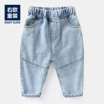 trousers Righteuro male 90CM,95CM,100CM,110CM,120CM,130CM U11761 blue spring and autumn trousers leisure time No model Jeans Leather belt middle-waisted Cotton blended fabric Open crotch Other 100% U11761 2, 3, 4, 5, 6, 7, 18 months