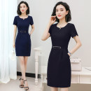 Dress Summer of 2019 Black, Navy S,M,L,XL,2XL,3XL,4XL longuette singleton  Short sleeve commute V-neck middle-waisted Solid color zipper One pace skirt routine Others 25-29 years old Type H Ol style Stitching, stereo decoration, zipper 9658 # [real shot] 81% (inclusive) - 90% (inclusive) brocade