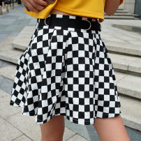 skirt Summer of 2018 S,L,M Black and white, available on the same day longuette street Pleated skirt lattice 25-29 years old D0452M04 other cotton printing