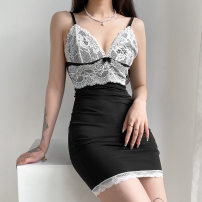 Dress Winter 2020 Black and white S,L,M Short skirt singleton  commute High waist Socket One pace skirt camisole 18-24 years old Stitching, bows 91% (inclusive) - 95% (inclusive) other polyester fiber