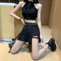 skirt Summer of 2019 S,L,M Black Trouser skirt longuette street Pleated skirt Solid color 18-24 years old other other fold