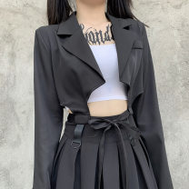 suit Autumn 2020 black S,L,M UltraShort  Self cultivation V-neck Frenulum street routine Solid color 18-24 years old 51% (inclusive) - 70% (inclusive) other Splicing