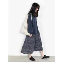 skirt Spring 2021 S, M Retro Blue Mid length dress commute High waist A-line skirt Broken flowers Type A 25-29 years old More than 95% Chiffon Other / other polyester fiber Retro 121g / m ^ 2 (including) - 140g / m ^ 2 (including)
