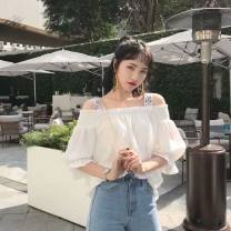 Lace / Chiffon Spring 2021 Off white, orange Average size elbow sleeve Sweet Socket singleton  easy Regular One word collar Solid color puff sleeve 18-24 years old Lotus leaf, hollow out, Auricularia auricula, stitching 31% (inclusive) - 50% (inclusive) spandex Mori
