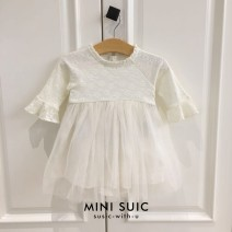 Dress White, defect (no return, no change) female Other / other 80cm,90cm,100cm Cotton 100% spring and autumn Korean version Long sleeves Solid color cotton Splicing style 12 months, 2 years, 3 years