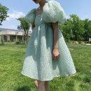 Dress Summer 2021 Morandi green S,M,L Middle-skirt singleton  Sweet puff sleeve Type A darongxiaopu other nylon princess