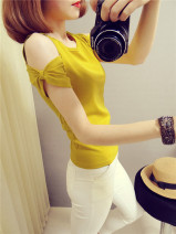 T-shirt White, yellow, black Average size Summer 2021 Short sleeve Crew neck Self cultivation Regular routine commute other 31% (inclusive) - 50% (inclusive) 25-29 years old Korean version other Solid color Bow, hollow out