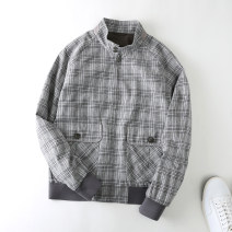 Jacket Jannel / Chino Youth fashion grey M,L,XL,2XL,3XL routine easy Other leisure autumn Cotton 70% flax 30% Long sleeves Wear out stand collar tide youth routine zipper 2021 Rib hem No iron treatment Closing sleeve lattice Side seam pocket cotton