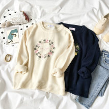 sweater Autumn of 2018 Average size Navy apricot Long sleeves Socket singleton  Regular acrylic fibres 95% and above Crew neck Regular commute shirt sleeve Regular wool Keep warm and warm 18-24 years old 09111305 acrylic fibres