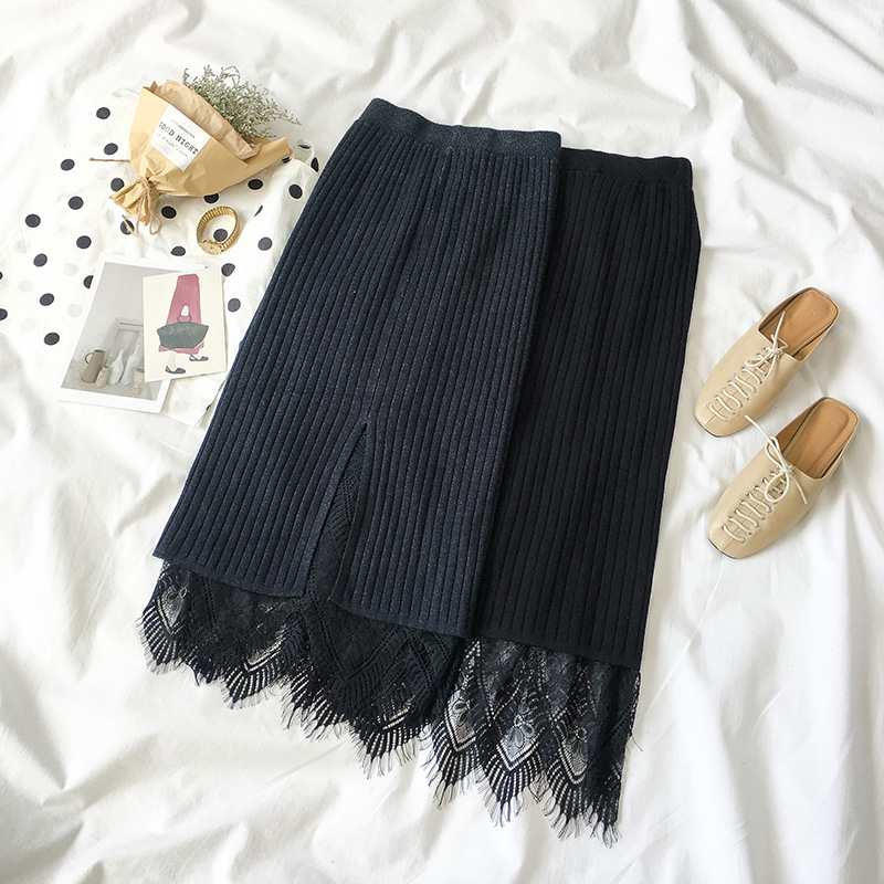 skirt Autumn of 2018 Average size Black grey black Middle-skirt commute High waist A-line skirt Type A 18-24 years old 09138415 More than 95% Viscose