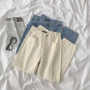 Jeans Spring 2021 Blue, apricot S,M,L trousers High waist Straight pants 18-24 years old Cotton denim 96% and above