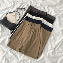 Casual pants Black, gray, blue, khaki, white S,M,L Spring 2021 trousers Wide leg pants High waist commute Thin money 18-24 years old 96% and above Korean version polyester fiber