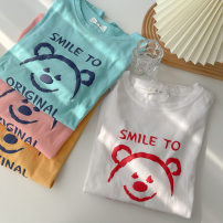 T-shirt White, blue, yellow, pink Average size Spring 2021 Short sleeve Crew neck easy Regular routine commute cotton 96% and above 18-24 years old Korean version classic Solid color printing