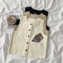 Vest Autumn 2020 Black, khaki, apricot Average size routine Crew neck commute Solid color Single breasted 18-24 years old 96% and above cotton