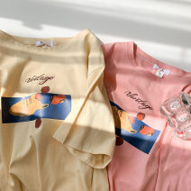 T-shirt Apricot, pink M,L,XL,2XL Summer 2021 Short sleeve Crew neck easy Regular routine commute cotton 96% and above 18-24 years old Korean version youth Cartoon animation printing