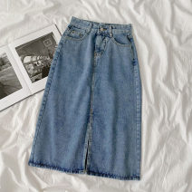 skirt Summer 2021 S,M,L,XL wathet Mid length dress commute High waist A-line skirt Solid color Type A 18-24 years old More than 95% Denim cotton Split Korean version