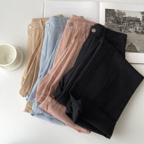 Jeans Spring 2021 Black, blue, khaki, pink S,M,L trousers High waist Wide legged trousers routine 18-24 years old Zipper, button Cotton denim light colour 96% and above