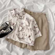 Fashion suit Spring 2021 Average size Khaki Pants, apricot shirt Under 17 96% and above polyester fiber