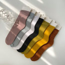 Socks / base socks / silk socks / leg socks female Other / other Average size Black, blue, green, purple, yellow, white, caramel 1 pair routine Middle cylinder summer Simplicity Solid color cotton Pile socks