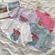 T-shirt Blue, white, purple, pink Average size Summer 2021 Short sleeve Crew neck easy Regular routine commute cotton 51% (inclusive) - 70% (inclusive) 18-24 years old Korean version classic Cartoon, animation, letters printing
