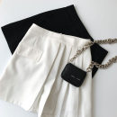 skirt Spring 2021 S,M,L Black, white Short skirt commute High waist A-line skirt Solid color Type A 18-24 years old More than 95% other polyester fiber zipper Korean version