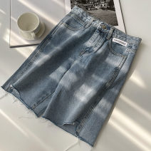 Jeans Summer 2021 blue S,M,L Pant High waist Wide legged trousers routine 18-24 years old Zipper, button, multiple pockets Cotton denim Dark color 96% and above