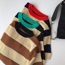 Wool knitwear Spring 2021 Average size Black, Navy, coffee Short sleeve singleton  Socket acrylic fibres More than 95% Regular routine commute Straight cylinder Low crew neck routine stripe Socket Korean version 18-24 years old thread