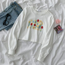 Sweater / sweater Spring 2021 white Average size Long sleeves have cash less than that is registered in the accounts Socket singleton  routine Crew neck easy commute Wrap sleeves Plants and flowers 18-24 years old 51% (inclusive) - 70% (inclusive) Korean version cotton printing cotton