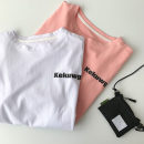 T-shirt White, pink M,L,XL,2XL Summer 2021 Short sleeve Crew neck easy Regular routine commute cotton 51% (inclusive) - 70% (inclusive) 18-24 years old Korean version classic letter