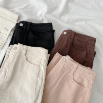 Jeans Spring 2021 Black, apricot, pink, coffee S,M,L trousers High waist Straight pants routine 18-24 years old Zipper, button, multiple pockets Cotton denim Dark color 96% and above