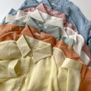 shirt Blue, yellow, white, green, orange, pink Average size Spring 2021 polyester fiber 96% and above Long sleeves commute Regular Polo collar Single row multi button shirt sleeve Solid color 18-24 years old Straight cylinder Korean version Button man-made fiber