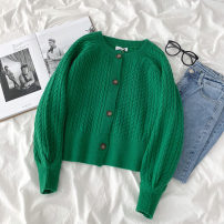 sweater Autumn 2020 Average size green Long sleeves Cardigan singleton  Regular acrylic fibres 95% and above Crew neck Regular commute routine Solid color Shoulder type Regular wool Keep warm and warm 18-24 years old Button acrylic fibres Single breasted