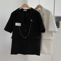 suit Spring 2021 Black, apricot, silver Average size Short sleeve routine Straight cylinder tailored collar Single breasted commute routine Solid color 18-24 years old 96% and above polyester fiber Button, pocket, tridimensional decoration