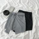 skirt Summer 2020 S,M,L Black, black and white check Short skirt commute High waist A-line skirt Type A 18-24 years old More than 95% polyester fiber Korean version