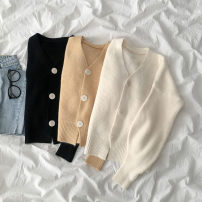 sweater Autumn 2020 Average size Black, white, yellow Long sleeves Cardigan singleton  Regular acrylic fibres 95% and above V-neck Regular commute routine Solid color 18-24 years old acrylic fibres Single breasted