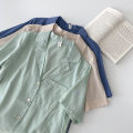 shirt Summer 2021 polyester fiber 96% and above Short sleeve commute Regular payment tailored collar Single row multi button routine Solid color 18-24 years old Straight tube Korean version 21050902 polyester cotton One size fits all Blue, green, apricot